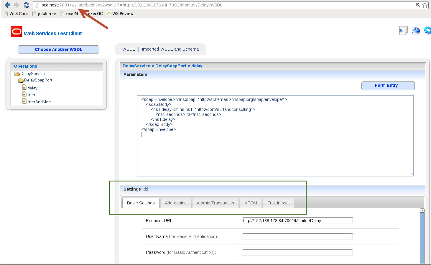 What happened with the Web Service Test Client in WebLogic 12 1 2